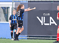 Marie Minnaert (13) of Club Brugge pictured celebrating after scoring a goal during a female soccer game between Club Brugge Dames YLA and Standard Femine de Liege on the seventh matchday in Play-Off 1 of the 2020 - 2021 season of Belgian Scooore Womens Super League , saturday 15 May 2021  in Brugge , Belgium . PHOTO SPORTPIX.BE | SPP | DAVID CATRY