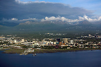 Aerial photograph of Anchorage, Alaska from the Cook Inlet as a storm passes