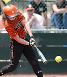 Douglas Tigers' Allison Meyer hits against the Galena Grizzlies in a first round game of the NIAA northern region softball tournament in Reno, Nev., on Thursday, May 15, 2014. <br /> Photo by Cathleen Allison