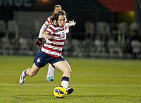 Heather O'Reilly takes a shot in the second half. USWNT played played a friendly against Ireland at JELD-WEN Field in Portland, Oregon on November 28, 2012.
