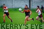 Austin Stacks Emma McCarthy trying to outpace Niamh Ni Chonchúir and Siobhan Ni Chuannaigh of Corcha Duibhne in the Kerry Ladies Intermediate Football Championship.