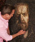 Pictured: Justin working on his portrait of the artist Karl Rudziak. <br /> <br /> A British artist stuck in Thailand has spent his time constructing masterpieces from pebbles for locals to enjoy.  Justin Bateman had only planned on staying in Chiang Mai for a week - but has remained there now for nearly ten months after the pandemic struck. <br /> <br /> His pebble portraits include The Queen, Spanish painter Pablo Picasso, Michelangelo's David and a local farmer - who was bemused by his portrait.   Mr Bateman, from Portsmouth, Hants, was staying in Bali when he travelled to Chiang Mai, in Thailand, to visit some friends.   SEE OUR COPY FOR DETAILS.<br /> <br /> Please byline: Justin Bateman/Solent News<br /> <br /> © Justin Bateman/Solent News & Photo Agency<br /> UK +44 (0) 2380 458800