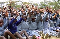 Children from Matanya, a small rural village at the base of Mount Kenya, gather outside their primary school. With problems such as hunger and thirst being so prevalent, its difficult for these students to focus on their dreams and their future.