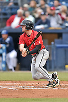 Kannapolis Intimidators left fielder Landon Lassiter (2) swings at a pitch during a game against the Asheville Tourists at McCormick Field on May 19, 2016 in Asheville, North Carolina. The Intimidators defeated the Tourists 10-7. (Tony Farlow/Four Seam Images)