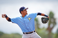 Tampa Bay Rays Carlos Vargas (95) throws to first base during an Instructional League game against the Baltimore Orioles on October 2, 2017 at Ed Smith Stadium in Sarasota, Florida.  (Mike Janes/Four Seam Images)
