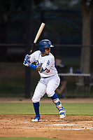 AZL Dodgers second baseman Kenneth Betancourt (3) at bat during an Arizona League game against the AZL White Sox at Camelback Ranch on July 3, 2018 in Glendale, Arizona. The AZL Dodgers defeated the AZL White Sox by a score of 10-5. (Zachary Lucy/Four Seam Images)