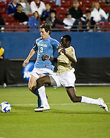 Wake Forest defender Ike Opara (23) pushes North Carolina midfielder Zach Loyd (2) off the ball.  North Carolina Tar Heels defeated Wake Forest Demon Deacons 1-0 in the semifinal match of the NCAA Men's College Cup at Pizza Hut Park in Frisco, TX on December 12, 2008.  Photo by Wendy Larsen/isiphotos.com