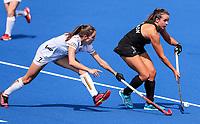 Olivia Shannon and Judith Vandermeiren during the Pro League Hockey match between the Blacksticks Women and Belgium, National Hockey Arena, Auckland, New Zealand, Sunday 2 February 2020. Photo: Simon Watts/www.bwmedia.co.nz