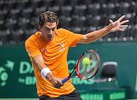 Switserland, Genève, September 16, 2015, Tennis,   Davis Cup, Switserland-Netherlands, Practise Dutch team, Jesse Huta Galung<br /> Photo: Tennisimages/Henk Koster