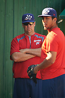 Reading Fightin Phils pitching coach Steve Schrenk (54) watches over bullpen sessions during practice before a game against the Portland Sea Dogs on May 31, 2016 at Hadlock Field in Portland, Maine.  Reading defeated Portland 6-4.  (Mike Janes/Four Seam Images)