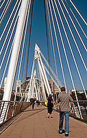 London: Hungerford Pedestrian Bridges, 2003. Strapped to either side of railway bridge.  Photo 2005.