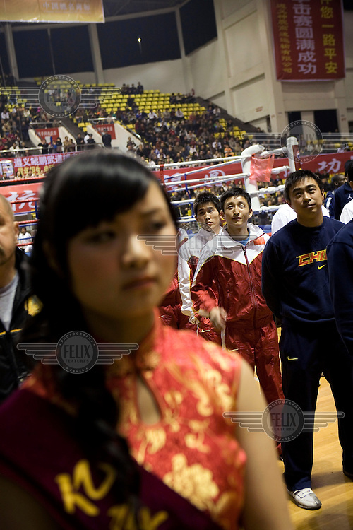 Zhou Shi Ming at the opening ceremony for a friendly match at his home town. Zou Shiming is the most successful amateur boxer from the People's Republic of China winning two world titles (2005, 2007) at Light Flyweight (-48 kg) division. He also won a bronze medal in Athens in 2004, making him China's first Olympic boxing medalist.