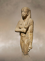 Ancient Egyptian statue of a queen wearing a clinging dress, sandstone, Ptolemaic Period (332-30BC). Egyptian Museum, Turin. <br /> <br /> Drovetti Collection, Cat 1386