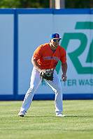 Syracuse Mets left fielder Tim Tebow (15) during an International League game against the Charlotte Knights on June 11, 2019 at NBT Bank Stadium in Syracuse, New York.  Syracuse defeated Charlotte 15-8.  (Mike Janes/Four Seam Images)