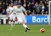 Gylfi Sigurdsson of Swansea during the Barclays Premier League match between Swansea City and Chelsea at the Liberty Stadium, Swansea on April 9th 2016