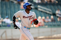 Rocket City Trash Pandas designated hitter Ibandel Isabel (19) hustles to first base against the Tennessee Smokies at Smokies Stadium on July 2, 2021, in Kodak, Tennessee. (Danny Parker/Four Seam Images)