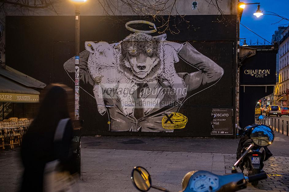 """Europe/ Ile de France / Paris /75011 : Stéphane Moscato L'élection présidentielle de mai 2017 m'a inspiré cette réalisation.<br /> Et n'oubliez pas:  « Faites attention au grand méchant loup  ! »<br /> - Le mur d'Oberkampf, ce pari fou devenu une institution du street art parisien  sur l'immeuble de l'historique Café Charbon, L'association le M.U.R. (modulable, urbain, réactif) - Oeuvre Protégée  //  Europe / Ile de France / Paris / 75011: <br /> Stéphane Moscato The presidential election of May 2017 inspired me to achieve this.<br /> And don't forget: """"Watch out for the big bad wolf!"""" """" - The Oberkampf wall, this crazy gamble that has become an institution of Parisian street art on the building of the historic Café Charbon, The association M.U.R. (modular, urban, reactive) OP Protected work /"""