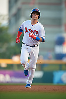 Buffalo Bisons Andy Burns (9) rounds the bases after hitting a home run during an International League game against the Syracuse Mets on June 29, 2019 at Sahlen Field in Buffalo, New York.  Buffalo defeated Syracuse 9-3.  (Mike Janes/Four Seam Images)