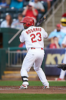 Springfield Cardinals catcher Alberto Rosario (23) at bat during a game against the Frisco RoughRiders  on June 3, 2015 at Hammons Field in Springfield, Missouri.  Springfield defeated Frisco 7-2.  (Mike Janes/Four Seam Images)
