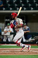 Peoria Chiefs Todd Lott (25) bats during a game against the Beloit Snappers on August 18, 2021 at ABC Supply Stadium in Beloit, Wisconsin.  (Mike Janes/Four Seam Images)