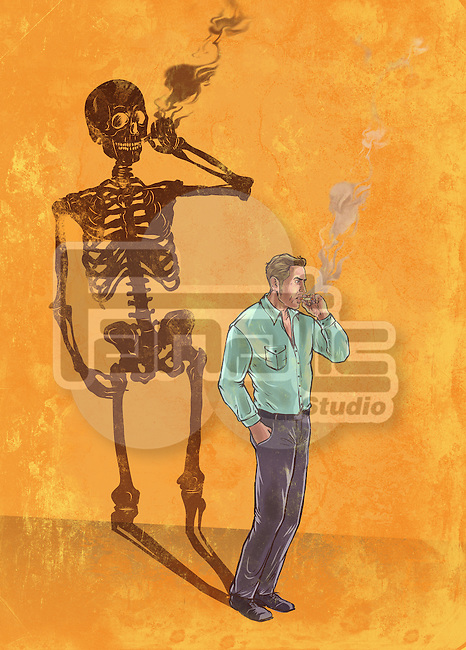 Illustrative image of man smoking cigarette with skeleton shadow representing death