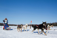 Emily Krol on Long lake heads towards the finish of the Jr. Iditarod   Willow, Alaska