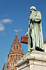 Statue of Gutenberg (1837) by Bertel Thorvaldsen (1770-1844) in Mainz, Rheinland-Pfalz, Germany (Johannes Gensfleisch zur Laden zum Gutenberg,  c. 1400 - 3.2.1468) [the suitcase is not part of the artist's work], in the background Saint Martin Dome<br /> <br /> Monumento a Gutenberg (1837) por Bertel Thorvaldsen (1770-1844) en Maguncia, Rheinland-Pfalz, Alemania (Johannes Gensfleisch zur Laden zum Gutenberg, ca. 1400 - 3.2.1468) [la maleta no es parte de la obra del artista], en el fondo Catedral de San Martín<br /> <br /> Gutenberg-Denkmal (1837) von Bertel Thorvaldsen (1770-1844) in Mainz, Rheinland-Pfalz, Deutschland (Johannes Gensfleisch zur Laden zum Gutenberg, ca. 1400 - 3.2.1468) [der Koffer ist nicht Teil des Kunstwerks], im Hintergrund St. Martin Dom<br /> <br /> orig.: 3008 x 2000 px<br /> 150 dpi: 50,94 x 33,87 cm<br /> 300 dpi: 25,47 x 16,93 cm