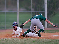 Braden River Pirates pitcher Logan Waldschmidt (15) slides in safely on a triple as third baseman Colin Blazek (9) attempts the tag during a game against the Venice Indians on February 25, 2021 at Braden River High School in Bradenton, Florida. (Mike Janes/Four Seam Images)