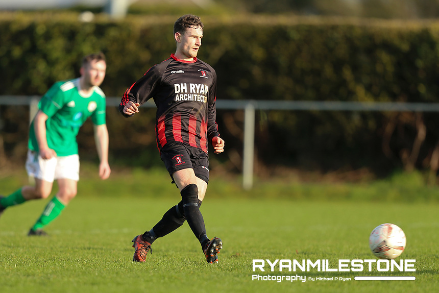 EVENT:<br /> TSDL Premier Division<br /> Peake Villa v Clonmel Celtic<br /> Sunday 12th January 2020<br /> Tower Grounds, Thurles, Co Tipperary<br /> <br /> CAPTION:<br /> Stephen Carroll of Peake Villa scores a goal from the penalty spot<br /> <br /> Photo By: Michael P Ryan