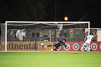 LAKE BUENA VISTA, FL - JULY 31: Pedro Gallese #1 of Orlando City SC and Diego Rossi #9 of LAFC in penalty kicks during a game between Orlando City SC and Los Angeles FC at ESPN Wide World of Sports on July 31, 2020 in Lake Buena Vista, Florida.