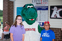 Two young fans pose for a photo with Kannapolis Intimidators mascot Tim E. Gator prior to the game against the West Virginia Power at Kannapolis Intimidators Stadium on June 18, 2017 in Kannapolis, North Carolina.  The Intimidators defeated the Power 5-3 to win the South Atlantic League Northern Division first half title.  It is the first trip to the playoffs for the Intimidators since 2009.  (Brian Westerholt/Four Seam Images)