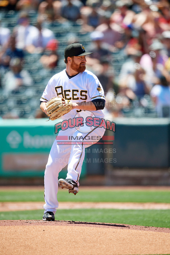Salt Lake Bees starting pitcher Jake Buchanan (37) delivers a pitch to the plate against the Round Rock Express at Smith's Ballpark on May 31, 2021 in Salt Lake City, Utah. The Express defeated the Bees 8-6. (Stephen Smith/Four Seam Images)