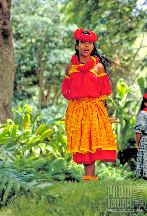Young girl chants at Prince lot hula festival