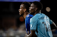 SAN JOSE, CA - AUGUST 17: Jeremy Ebobisse #11 of the San Jose Earthquakes is marked by Bakaye Dibassy #12 of Minnesota United during a game between San Jose Earthquakes and Minnesota United FC at PayPal Park on August 17, 2021 in San Jose, California.