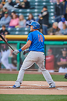 Chris Dominguez (18) of the Iowa Cubs bats against the Salt Lake Bees in Pacific Coast League action at Smith's Ballpark on May 13, 2017 in Salt Lake City, Utah. Salt Lake defeated Iowa  5-4. (Stephen Smith/Four Seam Images)