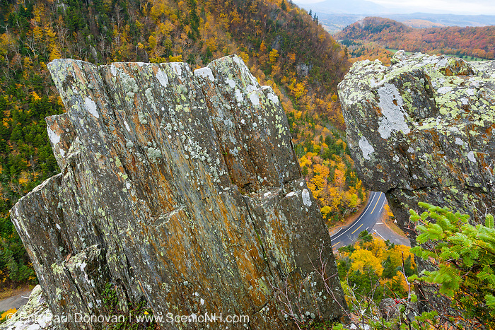 Dixville Notch - Route 26 in in Dixville, New Hampshire USA on a cloudy autumn day.