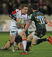 Friday 7th December 2012;  Paddy Jackson on the attack for Ulster during the Pool 4 round 3 Heineken Cup clash at Franklin's Gardens, Northampton, England. Image credit -: JOHN DICKSON / DICKSONDIGITAL