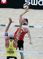 Campionati mondiali di beach volley, Roma, 18 giugno 2011..Brazil's Alison Cerutti, back to camera, in action against Germany's Jonas Reckermann, during their Beach Volleyball World Championship semifinal match in Rome, 18 june 2011..UPDATE IMAGES PRESS/Riccardo De Luca