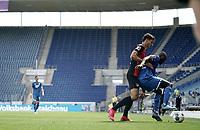 16th May 2020, Rhein-Neckar-Arena, Hoffenheim, Germany; Bundesliga football,1899 Hoffenheim versus Hertha Berlin;  Marko Grujic Berlin holds off Ihlas Bebou
