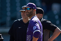Furman Paladins head coach Brett Harker (31) meets at home plate with Wake Forest Demon Deacons head coach Tom Walter (16) to go over the grounds rules prior to their NCAA baseball game at BB&T BallPark on March 2, 2019 in Charlotte, North Carolina. The Demon Deacons defeated the Paladins 13-7. (Brian Westerholt/Four Seam Images)