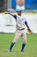 Burlington Royals shortstop Humberto Arteaga (13) throws the ball back to his pitcher during the game against the Princeton Rays at Hunnicutt Field on July 15, 2012 in Princeton, West Virginia.  The Rays defeated the Royals 3-1 in game two of a double header.  (Brian Westerholt/Four Seam Images)