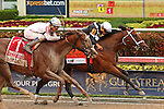 HALLANDALE BEACH, FL -JULY 02:  #7 Spelling Again (PA) with jockey Luis Saez on board holds off #1 Cali Star (KY) to win the Princess Rooney Stakes G2, a Breeders' Cup Win and You're In race at Gulfstream Park on July 02, 2016 in Hallandale Beach, Florida. (Photo by Liz Lamont/Eclipse Sportswire/Getty Images)