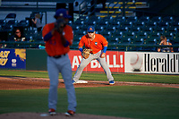 St. Lucie Mets first baseman Jeremy Vasquez (16) holds a runner on as pitcher Carlos Hernandez (43) gets ready to deliver a pitch during a Florida State League game against the Bradenton Barbanegras on July 27, 2019 at LECOM Park in Bradenton, Florida.  Bradenton defeated St. Lucie 3-2.  (Mike Janes/Four Seam Images)