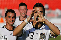 Kaan Ayhan of Germany celebrates after scoring a goal during the UEFA U-17 championships Semi Final match between Denmark and Germany on May 12, 2011 in Novi Sad, Serbia. (Photo by Srdjan Stevanovic/Starsportphoto.com)