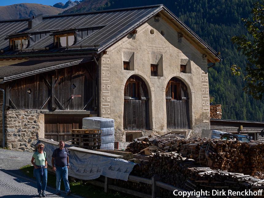 Zimmerei, Guarda bei Scuol, Unterengadin, Graubünden, Schweiz, Europa<br /> carpentry shop in Guarda, Scuol, Engadine, Grisons, Switzerland