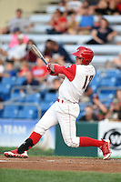 Williamsport Crosscutters outfielder Cord Sandberg (17) at bat during a game against the Aberdeen IronBirds on August 4, 2014 at Bowman Field in Williamsport, Pennsylvania.  Aberdeen defeated Williamsport 6-3.  (Mike Janes/Four Seam Images)