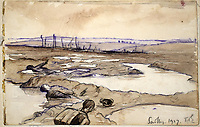 BNPS.co.uk (01202 558833)<br /> Pic: StroudAuctions/BNPS<br /> <br /> Pictured: A watercolour shows the bodies of soldiers strewn on a boggy Western Front battlefield.<br /> <br /> The poignant sketchbook of a World War One surgeon has been unearthed a century later.<br /> <br /> Captain Theodore Howard Somervell, of the Royal Medical Corps, treated hundreds of wounded Tommies in a field hospital at the Battle of the Somme. <br /> <br /> He was one of just four surgeons working flat-out in a tent, as scores of casualties lay dying on stretchers outside on the bloodiest in British military history.<br /> <br /> There is a sombre pencil sketch of a soldier on the operating table surrounded by a nurse and doctors. Another watercolour shows the bodies of soldiers strewn on a boggy Western Front battlefield.<br /> <br /> Capt Somervell, who was Mentioned In Despatches, drew landmarks including churches which were reduced to rubble in the deadly barrage. He also took rare photos of life on the frontline, including some taken inside an operating theatre. His sketchbook is being sold by a direct descendant with Stroud Auctions, of Gloucs.