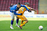 Motherwell v St Johnstone....28.04.12   SPL.Marcus Haber and Keith Lasley.Picture by Graeme Hart..Copyright Perthshire Picture Agency.Tel: 01738 623350  Mobile: 07990 594431