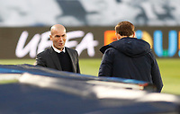 April 27th 2021; Alfredo Di Stefano Stadium, Madrid, Spain; UEFA Champions League.  Zinedine Zidane Madrid and Thomas Tuchel of Chelsea  during the Champions League match, semifinals between Real Madrid and Chelsea FC played at Alfredo Di Stefano Stadium