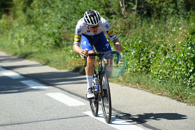 Remi Cavagna (FRA) Deceuninck-Quick Step in action during Stage 3 of Criterium du Dauphine 2020, running 157km from Corenc to Saint-Martin-de-Belleville, France. 14th August 2020.<br /> Picture: ASO/Alex Broadway | Cyclefile<br /> All photos usage must carry mandatory copyright credit (© Cyclefile | ASO/Alex Broadway)
